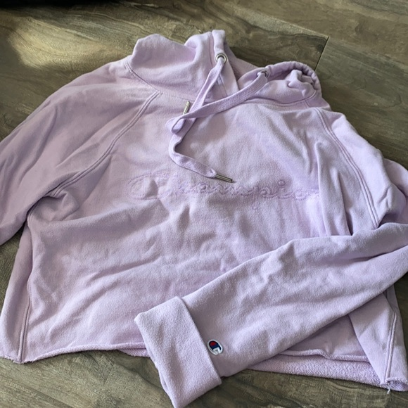 Lilac Cropped Champion Hoodie